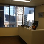 """ICRG Office Fitout. """"Before"""" converting a reception area into two offices.."""