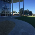 Exposed aggregate concrete path